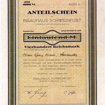 Anteilschein Brauhaus Schweinfurt GmbH vom 01. Oktober 1922 über 1.000 Mark, abgestempelt auf 400 Rechsmark - Georg Kraus