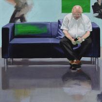 Sofa 4hoch2 #6, Öl auf Leinwand, 2014, 110 x 110