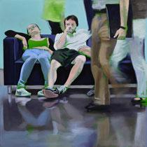 Sofa 4hoch2 #9, Öl auf Leinwand, 2014, 110 x 110