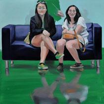 Sofa 4hoch2 #16, Öl auf Leinwand, 2014, 110 x 110