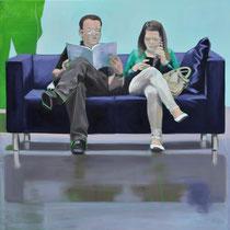Sofa 4hoch2 #13, Öl auf Leinwand, 2014, 110 x 110