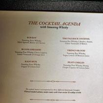 Die Cocktailkarte des Abends