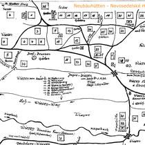 Ortsplan des alten Neubäuhütten, von K. Gerl aus dem Gedächtnis gezeichnet