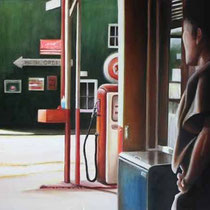 Homage à Edward Hoper  / 140 x 76 / Öl auf Leinwand /