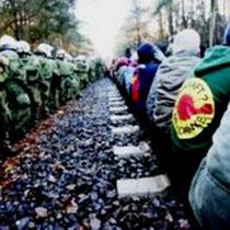 Blokade mod atomaffaldstransport CASTOR ved Gorleben i Nordtyskland