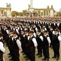 Fascistpartiet Jobbiks paramilitære Ungarske Garde. Blev det tredjestørste parti med 12,8 procent
