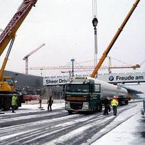 Die Fahrer der Schwertransporter mussten im Rückwärtsgang die Baustelle anfahren.