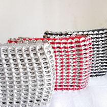 カンボジア雑貨 缶トップバッグ(S) 赤、黒、シルバー