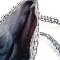 カンボジア雑貨 缶トップバッグ(M) 黒 内布