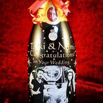 結婚祝い オリジナル シャンパン ワイン マグナム ボトル 写真 世界で1つ 格安 名前 ロゴ 製作 東京 スワロ サプライズ プレゼント 酒 オーダー