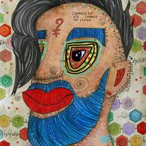 """""""Change de vie, change de vision""""  sur papier aquarelle (300g grain fin sur format 24x32 cm) - Malagarty"""