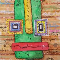 """""""Cactus""""  sur papier aquarelle (300g grain fin sur format 21x29,7 cm) - Série Totem Malagarty"""