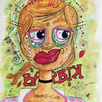 """""""Barbik""""  sur papier aquarelle (300g grain fin sur format 24x32 cm) - Malagarty"""