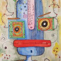 """""""Quand l'univers ne tourne pas rond"""" aquarelle sur papier Canson (300g grain fin sur format 21x29,7 cm) - Série Totem Malagarty"""
