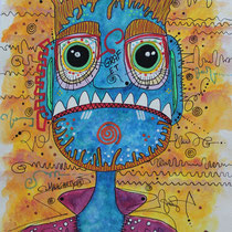 """""""Graf E.T.""""aquarelle sur papier Canson (300g grain fin sur format 24x32 cm) - Malagarty"""