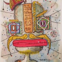 """""""Le Gaulois"""" aquarelle sur papier Canson (300g grain fin sur format 24x32 cm) - Série Totem Malagarty"""