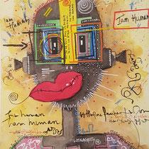 """""""I'am juman""""  sur papier aquarelle (300g grain  fin sur format 31x41 cm) - Malagarty"""