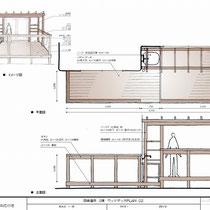 提案資料、平面と立面だけではイメージしにくいパーゴラや、高さの異なる床などをわかりやすく描きました。
