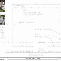 提案図、建物外周を囲むようにウッドフェンスを設置しました。正面側のみアイアンとの組み合わせです。