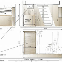 提案図、物置のサイズを幾度か見直して御注文を頂きました。屋根勾配は最終的に外向きに変更。