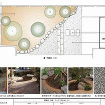 提案図、現場に合った御影石平板をアクセントに入れた、和風庭園の雑草対策です。