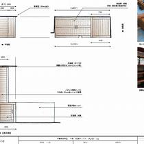 現地で採寸し作成した図面、こちらを基に大工さんが工場で制作したものを現場搬入して組立しました。