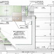 提案資料。広いコンクリート舗装で大量に発生する現場発生土。一部を庭に入れ込んで段差のあるお庭とウッドデッキを作ります。
