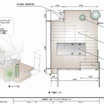 提案図、建物のリフォームにあわせ中庭のウッドデッキをご相談頂きました。テーブルは人工大理石を設置するための下地を作成しました。