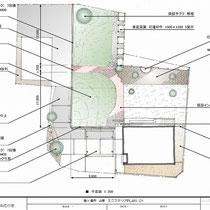 全体敷地図の計画図。まずは隣地境界に接する部分の雑草対策をかねて、駐車場の舗装工事を実施します。