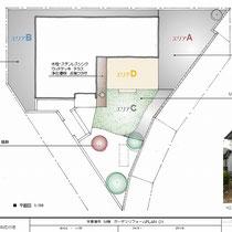 初回の提案図、広いお庭を段階的にコンクリートで覆うというプランでした。