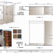 提案資料、壁面に建つ2面のフェンスに照明やシャワー水栓を配置、排水口をカバーした樹脂仕上げのウッドデッキです。