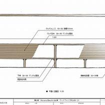 新規で作成したフェンスの図面、既存の丸太柱に施工するソフトウッドのフェンスです。