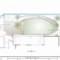 提案資料。何度か修正をおこない今回は芝生面積の縮小と石畳舗装、既存フェンスの隙間カバ―を実施しました。