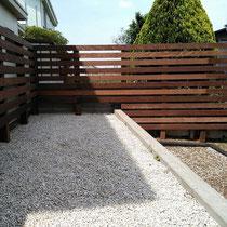 活用しきれない場所は雑草対策をして砂利敷きとする事で、管理できる範囲で植栽面積を絞ります。