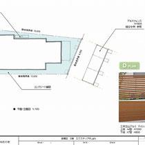 施工図面。ぐるっと建物を巻くコンクリート舗装と、アルミのフェンス。狭小で高台の敷地のため図面からでは読み取りにくい難工事です。