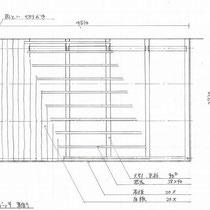 これは東側のデッキ図面。昔ながらの一尺根太と三尺大引に在来工法により、とにかく頑丈で長持ちします。