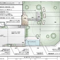 提案資料。2区画ある敷地の半分は建物と駐車場、残りは広大な芝生のお庭となる大きな工事です。