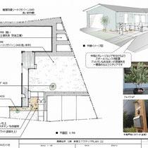 提案資料。全体プランを考え、工務店様の外構と分担で施工をしました。