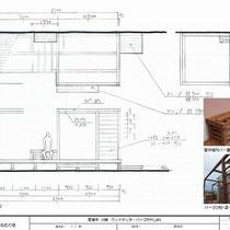 図面、建物に固定しないパーゴラ付。垂木は乗せずに日よけシェードをつける予定です。