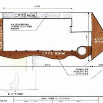最初のご提案図。広いデッキ、曲線を描く廊下、スロープの三か所がデッキ予定地。