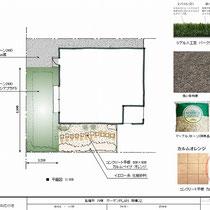 提案資料、全ての土面に雑草防止シートを敷設。人工芝面と化粧砂利+平板面、リーズナブルな砂利面の三種類で仕上げをします。