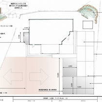 提案資料。エントランスの景観UPと、駐車場の増設、広いお庭の水はけ問題、それから自転車置場兼用休息スペースの4つをご依頼頂きました。