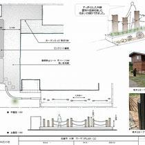 提案資料、駐車場の増設と雑草対策、道路境界のスペース装飾をご提案しました。