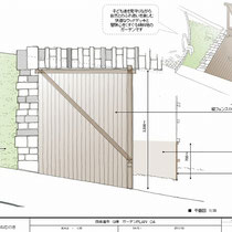 ご提案図、傾斜地にフラットなウッドデッキ、そしてデッキの下方にある傾斜部分の活用をテーマにご提案を進めました。