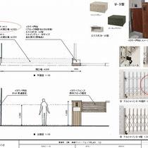 提案資料。メインは伸縮門扉の交換でしたが、合わせて門柱とフェンスをイタウバで作り直すよう提案しました。