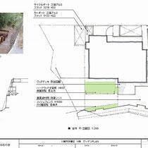全体工事の提案図。傾斜部分が多くかなり広い敷地です。