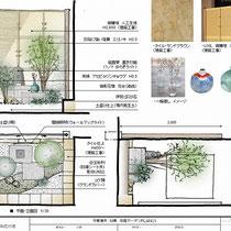 提案資料、外周を囲むタイルと人工竹垣は決まっていたので、それらになじむ素材を選びながら和風坪庭のプランを作成しました。