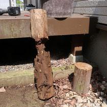 腐食した丸太の足、しっかりと深く埋まっていますが、地上面あたりが完全に腐食しています。