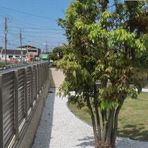 着工前、既存のフェンスと中庭の間に、アルミ列柱の壁を作ります。