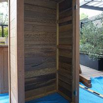 上段部分の制作した箱。玄関から搬入する経路もぎりぎりの寸法でした。